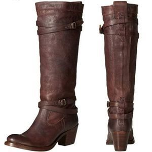 FRYE Tall Leather Boots Brown Size 7 B